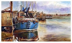 """Blue boat at Skippool by Graham Berry Watercolor ~ 10"""" x 18"""""""