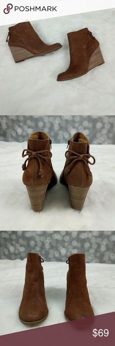 "New Lucky Brand Yamina Wedge Bootie Dark toffee brown Yamina wedge bootie from Lucky Brand with back tie detail and internal zipper. Boots have 3.5"" heel and will ship in original box. Lucky Brand Shoes Ankle Boots & Booties"