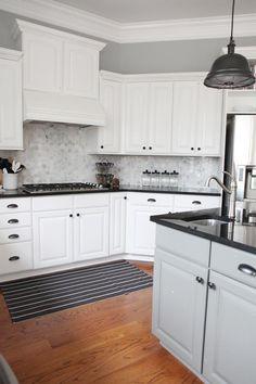 Bower Power's White Kitchen with Hexagon Marble Tile Backsplash