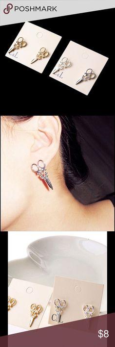 Gold/Silver Scissor Shape Studs Cute earrings, alloy material Jewelry Earrings