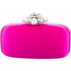 Pre-owned Oscar de la Renta Embellished Satin Minaudi?re (€485) ❤ liked on Polyvore featuring bags, handbags, clutches, pink, pink clutches, preowned handbags, shoulder strap purses, embellished purses and fuschia handbags