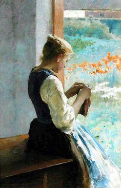 Hugo Salmson (1843-1894) - Girl Sewing