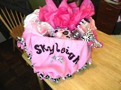 Pink and Zebra baby shower basket... my nieces name only spelled differently...