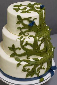 Ivory Wedding Cake with Moss Green Tree Detail & Navy Love Birds (colors not cake)