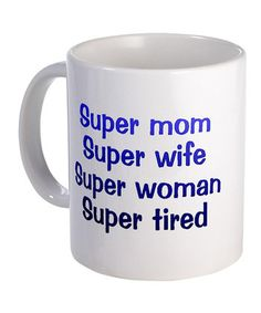 White & Black 'Super Mom' Mug