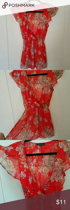 NWOT Forever 21 Sheer Floral Top Forever 21 red sheer flowy top with purple and green floral print.  Ruffled neckline.  Never worn, new without tags!! Size small. Forever 21 Tops Blouses