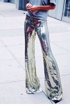 liquid silver sequin flares bell bottoms, I THINK WE SHOULD ALSO GO OUT DISCO DANCING, OR HAVE A DISCO PARTY! LOOK AT THESE SEXY PANTS FOR CLUBBING! SEXY! Disco Clothes, Sparkle Clothes, Glitter Clothes, Sparkle Outfit, Disco Pants Outfit, Disco Outfits, Silver Bra, Silver Shirt, Silver Sequin Dress