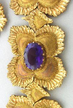 "Buccellati Gold Amethyst Bracelet Earrings Pin Pendant Set  Metal:18K Gold Gemstones/Diamonds:Amethyst Measurements:Earrings- 37mm X 28mm , Bracelet - 7 7/16"" Long & 30mm Wide, Brooch/Pendant - 67mm X 53mm (Inch=25mm) Marked/Tested: Gianmaria Buccellati, Italy, 750. .AR, Clarity:n/a Color:n/a Weight: Earrings: 15.4g, Bracelet: 67.4g, Brooch /Pendant: 36.3g"