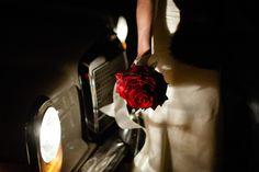 vintage wedding style red rose bridal bouquet antique transportation