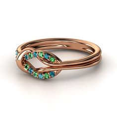14K Rose Gold Ring with Emerald and Blue topaz