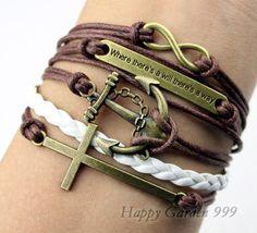 infinity & anchor charm bracelet cross antique by happygarden999, $5.99