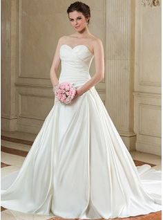 Wedding Dresses - $219.99 - Ball-Gown Sweetheart Chapel Train Satin Wedding Dress With Ruffle  http://www.dressfirst.com/Ball-Gown-Sweetheart-Chapel-Train-Satin-Wedding-Dress-With-Ruffle-002000587-g587