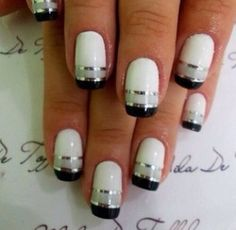 Black and white nails cute