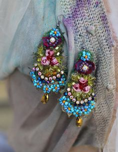 Your place to buy and sell all things handmade Fabric Earrings, Fabric Beads, Beaded Earrings, Beaded Jewelry, Jewellery, Handmade Beads, Handcrafted Jewelry, Artisan Jewelry, Textile Jewelry