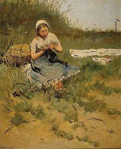 Peasant Girl Knitting by Frans Pieter Lodewyk van Kuyck (1852–1915)