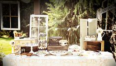 old suitcases, cameras, and shutters #party ideas #bridal shower #vintage