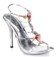 Pleaser Shoes Eclair-26 Silver Elegant silver sandals with thin straps, delicate wiring details overlay on straps and coloured stone, chain and rhinestone embellishments on the instep. The foot is kept in place by an ankle strap wi http://www.MightGet.com/january-2017-12/pleaser-shoes-eclair-26-silver.asp