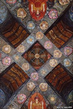 Ceiling of Watts Chapel, Surrey designed and painted by Mary Seaton