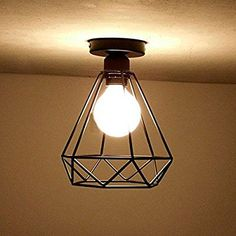 Cozyle Vintage Industrial Style Metal Dome Ceiling Light Diamond