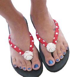 26e80e0cb67 Baseball Flip Flops - bling- red white polka  all colors