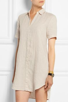 James Perse's ecru linen mini shirt dress is cut for a loose, airy fit ideal for warm days. The longer back hem provides coverage and adds to the relaxed shape. Balance the slightly sheer finish with a nude bra. Get the look at NET-A-PORTER
