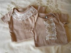 DIY tea dying vintage glam onesie. (love the one on the left. so cute.)