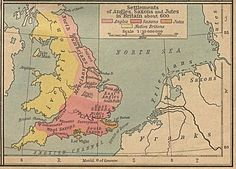 Settlements of Angles, Saxons, and Jutes in Britain about 600