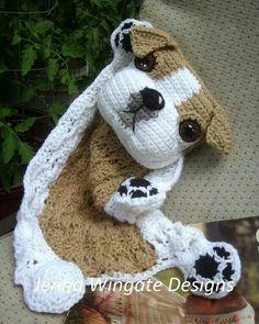 Bulldog Puppy Blankie Jenna Wingate Designs Pattern: http://shrsl.com/?~65lo ~ Pamela  #crochet #pattern #crochetersanonymous
