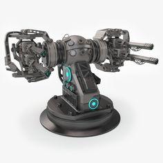 max plasma turret sci fi 3d model