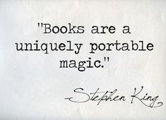 Stephen King about books.