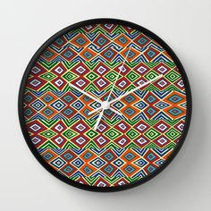 african pattern Wall Clock by hardkitty - $30.00