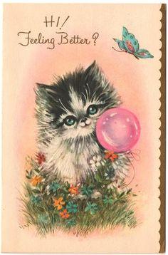 Kitten with lovely pink balloon