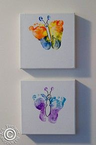 Baby footprints on canvas to make a cute butterfly