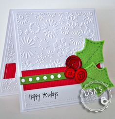 Holly Christmas Card with buttons