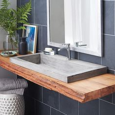 "36"" Trough 3619 Undermount / Drop-In Concrete Trough Bathroom Sink 