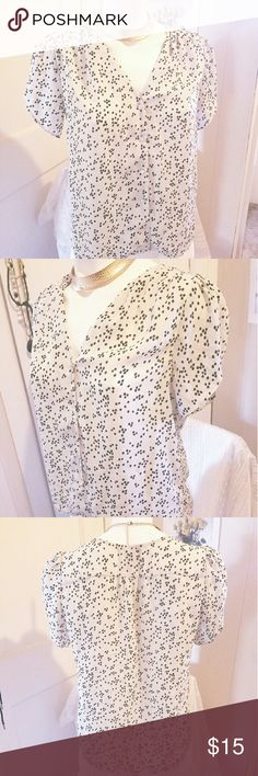 Pleated White Dotted Blouse Super cute and light -- perfect for warmer days. Very feminine pleated shoulder detail,  perfect for a variety of outfits. H&M Tops Blouses