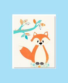 BABY BOY NURSERY Prints Fox Nursery Print Orange by LittleMonde, $16.00