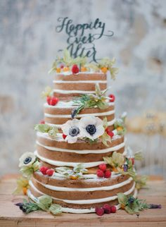 """Happily Ever After"" naked #cake Photography: Marta Locklear - martalocklear.com  Read More: http://www.stylemepretty.com/2014/07/16/loft-style-wedding-inspiration/"