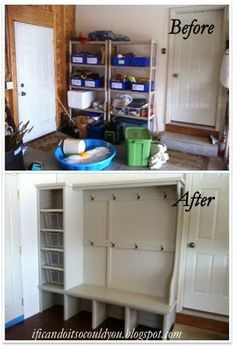 The finished garage mud room lockers - with a pull out wire basket for each person, cubbies under the bench for shoes, and plenty of hooks for coats.