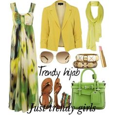 colorful maxi dress  Trendy hijab style collection http://www.justtrendygirls.com/trendy-hijab-style-collection/