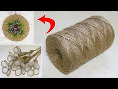 10 IDEAS crafts from JUTE. Ideas for Christmas crafts. Twine Flowers, Diy Flowers, New Year's Crafts, Diy Crafts For Kids, Hessian Crafts, Jewellery Organizer Diy, Burlap Flower Tutorial, Jute Twine, Flower Crafts