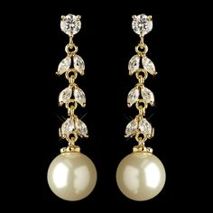 Gold Plated CZ and Freshwater Pearl Wedding Earrings for the bride or her bridesmaids! - Affordable Elegance Bridal -