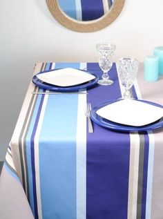 Nappe enduite rayures bleue Bed Curtains, Stripes, Deco, Home, Bedding, Linens, Linen Duvet, Round Tablecloth, House