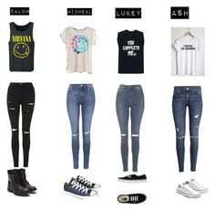 """""""5sos"""" by rmporter on Polyvore featuring Topshop, H&M, Converse and Vans"""