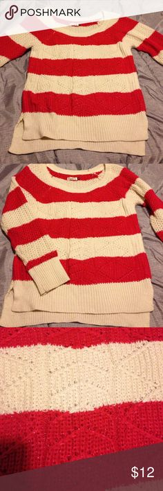 Cream & Red Striped Sweater Cute Cream & Red Sweater with some sparkle - Sz L Juniors. Excellent condition. So comfortable. Sweaters Crew & Scoop Necks