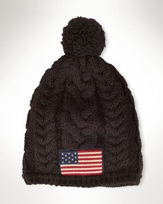 Flag Patch Cable-Knit Hat - Polo Ralph Lauren Hats - RalphLauren.com