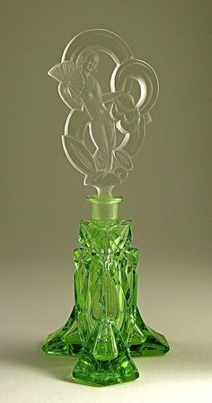Perfume green glass bottle