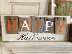 love pallet sign blute and white | Pallet- Style Halloween Signs