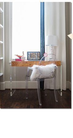 modern lucite chair + desk | domino.com
