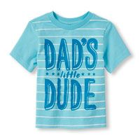 Toddler Boys Short Sleeve 'Dad's Little Dude' Striped Graphic Tee